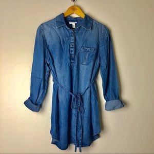 Chambray Denim Button-Down Shirt Tunic Blouse